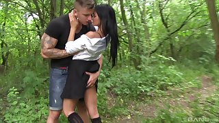 Nice outdoors fucking in the public house woods with blarney hungry Rosaline Rosa