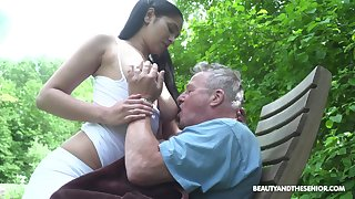 Busty sitter Ava Black bangs old man and takes cumshots greater than the brush massive boobs
