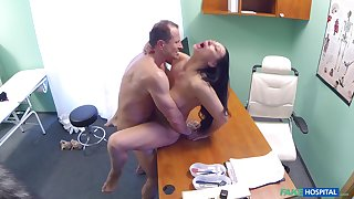 Eva Ann gets a sex toy stuck more her twat and relies on doctor for help