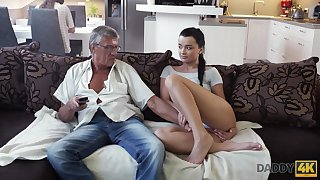 Whorish coed Erica seduces granddad of her best boyfriend