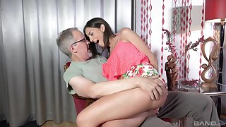 Teen babe Miky Love bent over and pounded hard by an older guy