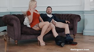 Perfect blonde bombshell Lucy Sky gets a cumshot at the office