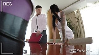 German slender dark haired beauty Marley Brinx doggy fucked