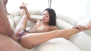 Asian with small tits, fucked hard and jizzed on face