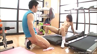 Ayami Shunka swallows all of the cum after a cock work out