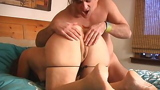 mature lady craving for a friend's boner deep inside her in the bedroom