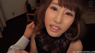 Japanese classy cutie Ayami Shunka gives handjob and a titjob