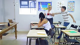 Hot steamy threesome sex with big tits teacher in class room