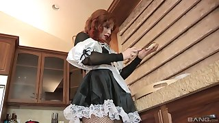 Facial cumshot for redhead Brooklyn Lee in a maid outfit
