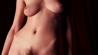 busty and muted unilluminated approximately natural tits teasing in solo erotic video