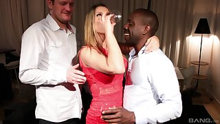 Angel Rivas fucked by a white and a black guy in a threesome
