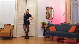 Curvy petite blonde Nikky Dream sucks dick in ripped pantyhose