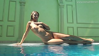 Ardent and despondent bikini girl Mary Kalisy is on the very point of expose her body underwater
