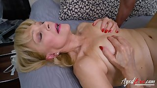 Shaved grandma pussy takes a young dick balls deep