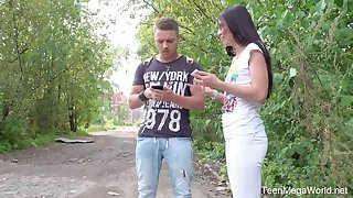 Yummy Russian teen Roxy Sky gets her anus fishy on the first meeting