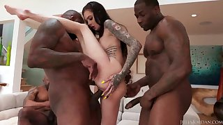 Hardcore interracial group behave oneself with Marley Brinx