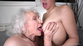old and young lesbian sex nearly retired GILF and 18yo brunette - retirement gift